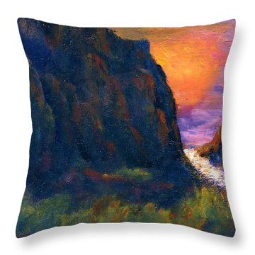 Throw Pillow featuring the painting Oak Creek Canyon by Gail Kirtz