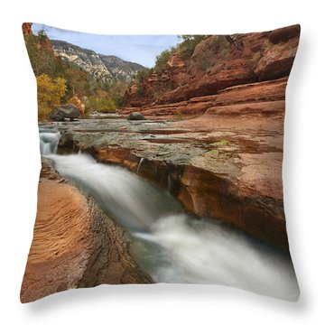 Oak Creek In Slide Rock State Park Throw Pillow by Tim Fitzharris