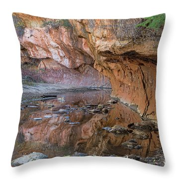 Throw Pillow featuring the photograph Oak Creek Reflections - Sedona, Az by Sandra Bronstein