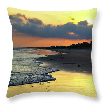 Oak Island Yellow Sunset Throw Pillow
