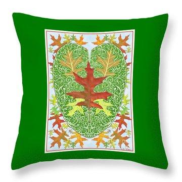 Oak Leaf In A Heart Throw Pillow by Lise Winne