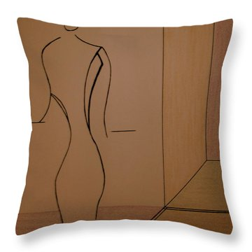 Throw Pillow featuring the drawing Oak Room At The Plaza by Bill OConnor