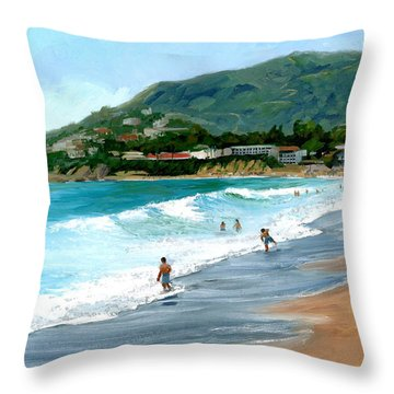Oak Street Beach, Laguna Beach Throw Pillow