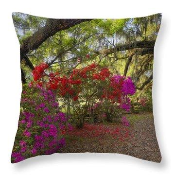 Throw Pillow featuring the photograph Oak Tree Azaleas by Ken Barrett