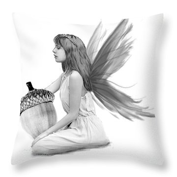 Oak Tree Fairy With Acorn B And W Throw Pillow