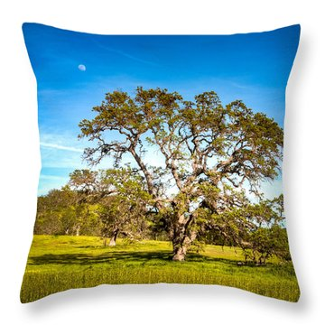 Oak Tree Green Meadow Moon Rising Throw Pillow