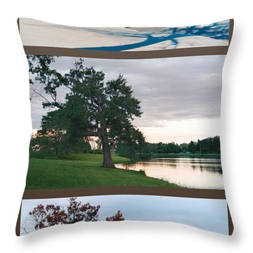 Oak Tree Through Seasons Throw Pillow
