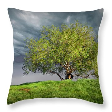 Oak Tree With Tire Swing Throw Pillow