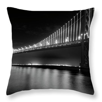 Throw Pillow featuring the photograph Oakland Bay Bridge At Night by Darcy Michaelchuk