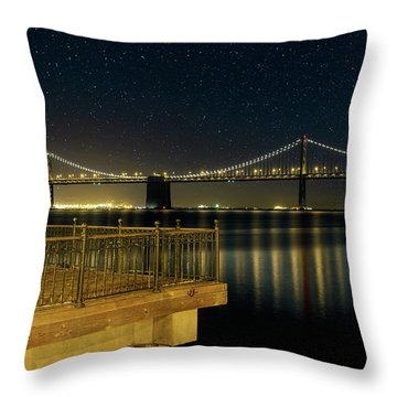 Oakland Bay Bridge By The Pier In San Francisco At Night Throw Pillow