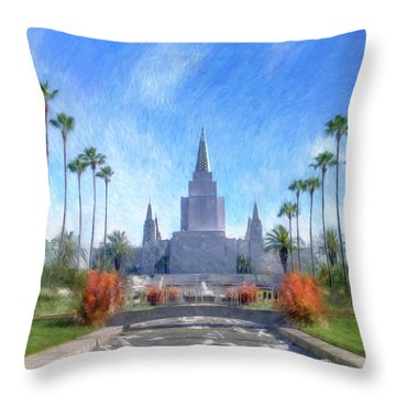 Throw Pillow featuring the painting Oakland Temple No. 1 by Geoffrey C Lewis