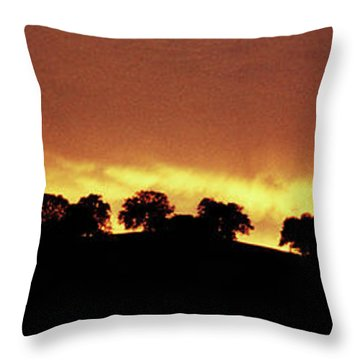 Throw Pillow featuring the photograph Oaks On Hill At Sunset by Jim and Emily Bush