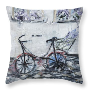 Oana's Bike Throw Pillow by Evelina Popilian