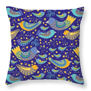 Oaxacan Mercado Birds Throw Pillow by Darlene Seale