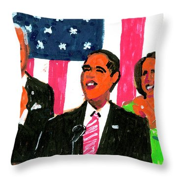Obama's State Of The Union '10 Throw Pillow by Candace Lovely
