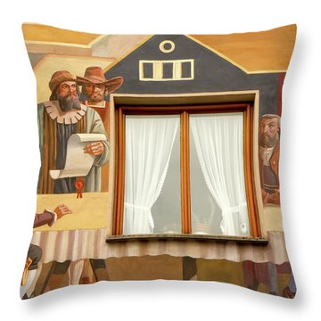 Throw Pillow featuring the photograph Oberammergau Frescoe by KG Thienemann