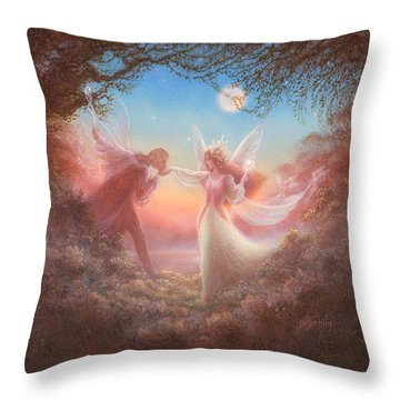 Oberon And Titania Throw Pillow by Jack Shalatain