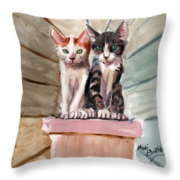 Obi And Lisa Two Kittens Throw Pillow
