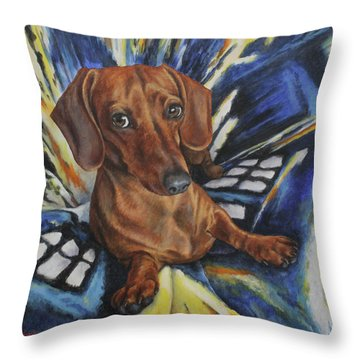 Dachshund Time Lord Throw Pillow