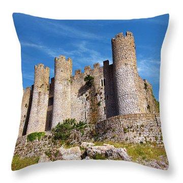 Obidos Castle Throw Pillow by Carlos Caetano