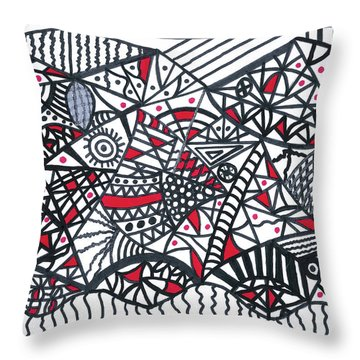 Objective Contrast With Red And Silver Throw Pillow