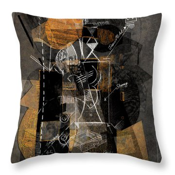 Objects In Space With Ochre Throw Pillow