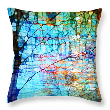 Obscured In Blue Throw Pillow