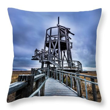 Observation Tower - Great Salt Lake Shorelands Preserve Throw Pillow by Gary Whitton