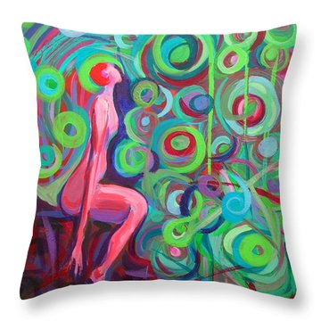 Throw Pillow featuring the painting Observing Globes by Mary Schiros