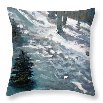 Throw Pillow featuring the painting Observing Snow by Gary Coleman