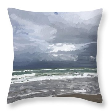 Ocean And Clouds Over Beach At Hobe Sound Throw Pillow