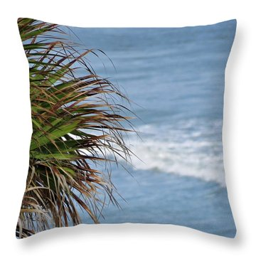 Ocean And Palm Leaves Throw Pillow