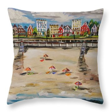 Ocean Ave By John Williams Throw Pillow by John Williams