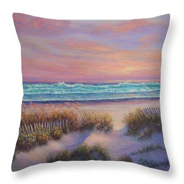 Ocean Beach Path Sunset Sand Dunes Throw Pillow