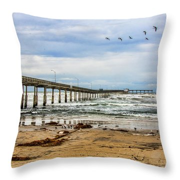 Ocean Beach Pier Fishing Airforce Throw Pillow by Daniel Hebard