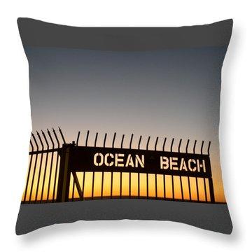Ocean Beach Pier Gate Throw Pillow by Christopher Woods
