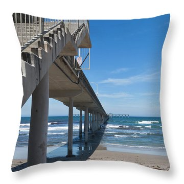 Ocean Beach Pier Stairs Throw Pillow