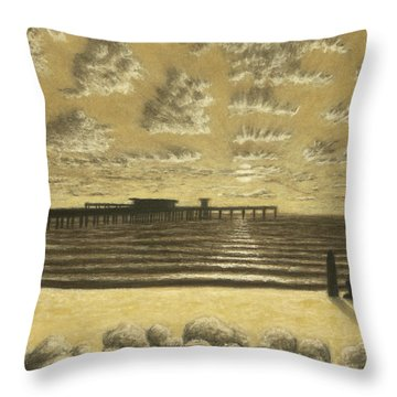 Ocean Beach Pier Sunset 01 Throw Pillow