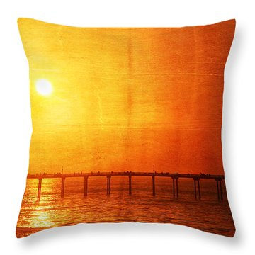 Ocean Beach Pier Sunset Throw Pillow