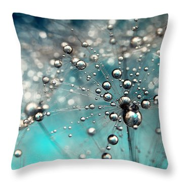 Ocean Blue And White Dandy Drops Throw Pillow by Sharon Johnstone