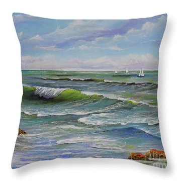Throw Pillow featuring the painting Ocean Breeze by Mary Scott