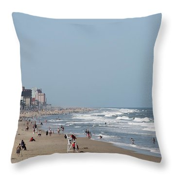 Ocean City Maryland Beach Throw Pillow by Robert Banach