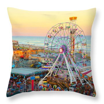 Ocean City New Jersey Boardwalk And Music Pier Throw Pillow