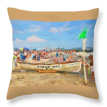 Ocean City Rescue Boat 2 Throw Pillow