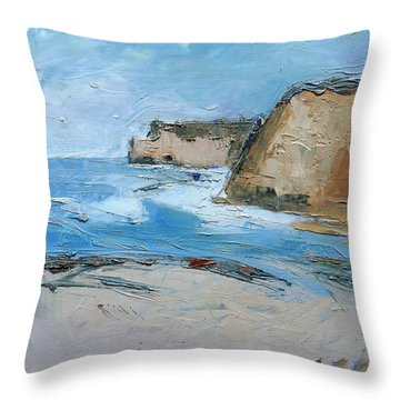 Throw Pillow featuring the painting Ocean Cliffs by Gary Coleman