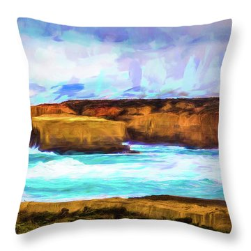 Throw Pillow featuring the photograph Ocean Cliffs by Perry Webster