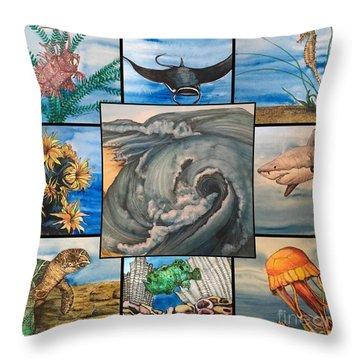 Ocean Collage #1 Throw Pillow