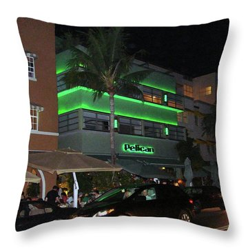 Ocean Drive Miami Beach Throw Pillow