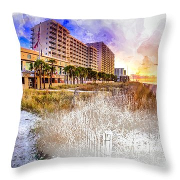 Ocean Drive Sunrise Watercolor Throw Pillow