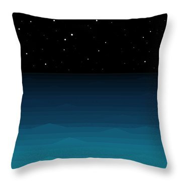 Ocean - Elements - Starry Night Throw Pillow by Val Arie